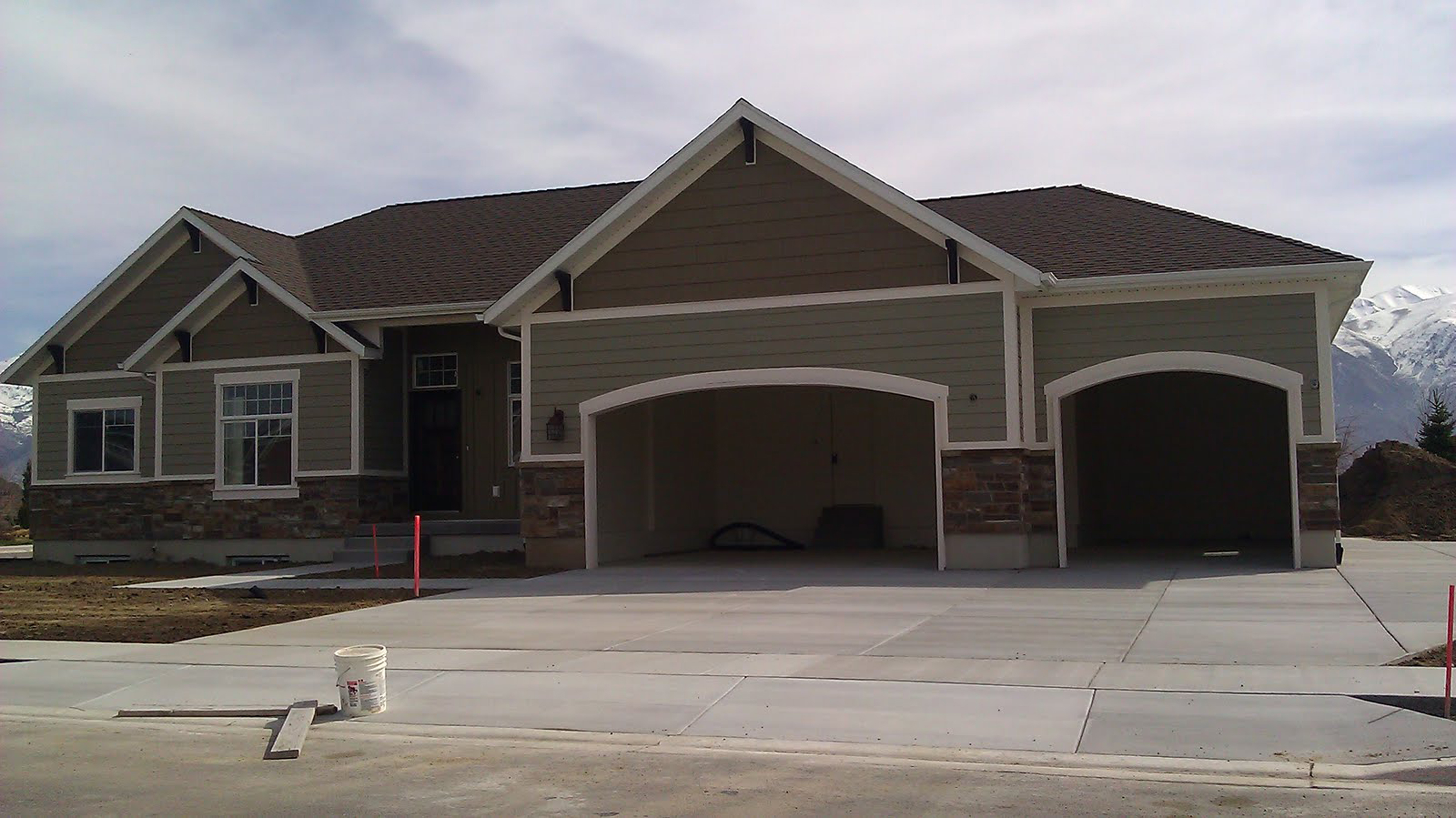 Attractive House Exterior Color Idea With Gray Wall With Gray Stone  Wall Accent And White Window Frames Together With Brown Roof Tile Beautiful  House  ...